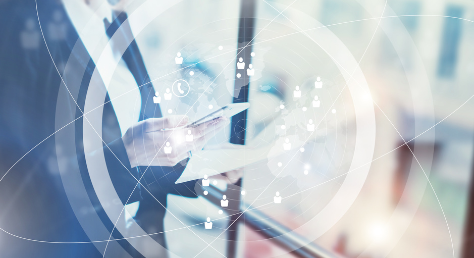 Picture business woman wearing black suit,talking smartphone and holding papers hands.Open space loft office.Panoramic windows background.Connections world wide interface.Horizontal,flares.Film effect